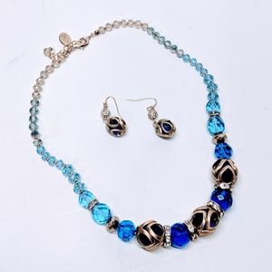 WHBM Cobalt Crystal Choker and Earring Set